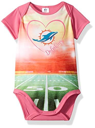 NFL Miami Dolphins Baby-Girls Short-Sleeve Bodysuit, Pink, 6-9 Months