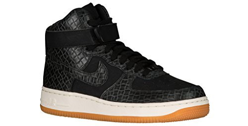 Nike WMNS AIR Force 1 HI PRM Womens Basketball-Shoes 654440-009_12 - Black/Black-Gum MED Brown-SAIL