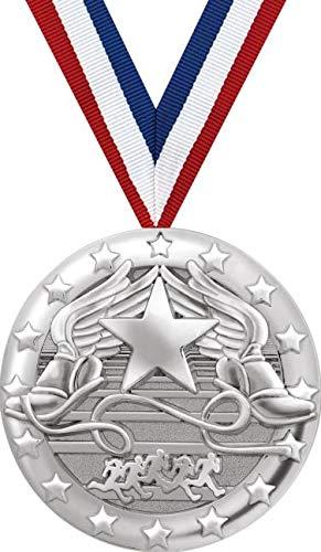 翼付きフットメダル 2インチ シルバー トラック チームメダル 賞 プライム B07GDVMDDS  100