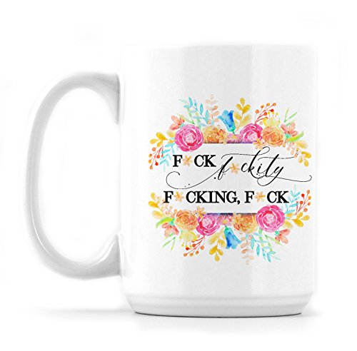 Censored F*ck Spring Floral Ceramic Mug - 15 oz Cup For Coffee, Tea or Hot Chocolate