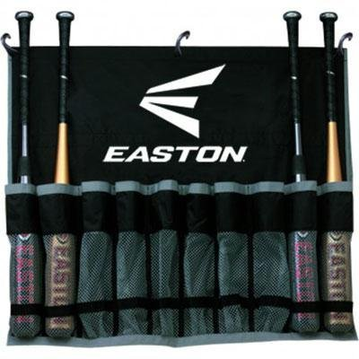 EASTON Hanging Team Bat Bag | 2019 | Black | Reinforced Nylon Mesh Slots Holds Up To 10 Bats | 3 J Designed Fence Hooks for Dugout Functionality