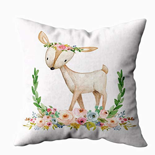 Shorping Zippered Pillow Covers Pillowcases 20X30 Inch boho woodland floral deer baby girl nursery pillow Decorative Throw Pillow Cover Pillow Cases Cushion Cover for Home Sofa Bedding