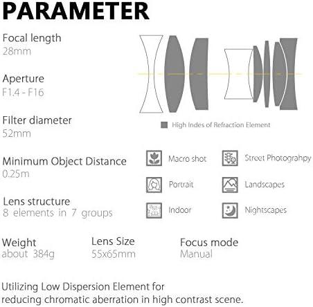 Kamlan KML2814CAN 28 mm F1.4 APS-C Lente de Enfoque Fijo Manual de ...