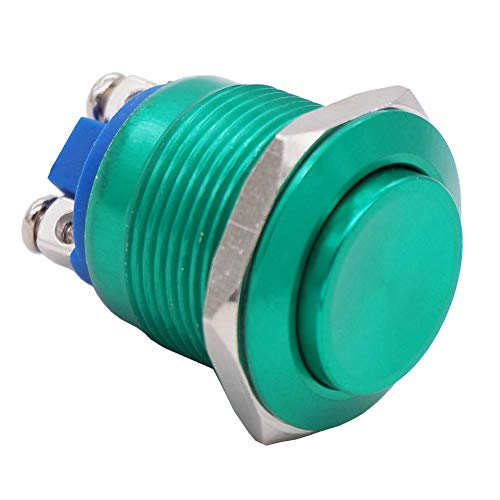 16mm Waterproof Blue Metal Shell Momentary Raised Top Push Button Switch 3A//12~250V SPST 1NO Start Button for car modification Switch M-16-BU-G Twidec