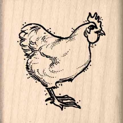 Chicken Rubber Stamp 1 2 Inches X