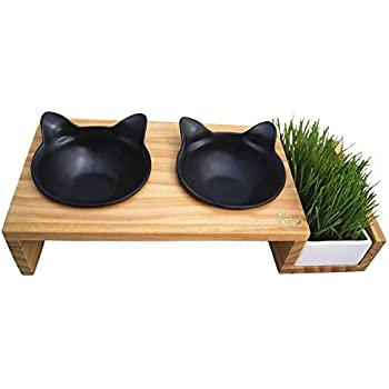 ViviPet Cat Dining Table _15° Tilted Platform Pet Feeder_ Solid Pine Stand with Ceramic Bowls – Mykonos Collection