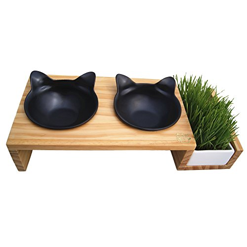 (ViviPet Cat Dining Table - 15° Tilted Platform Pet Feeder_ Solid Pine Stand with Ceramic Bowls – Elevated Cat Feeder Raised Cat Bowl Mykonos Collection (Pearl Black Kitty Bowls, Wood Grain Stand))