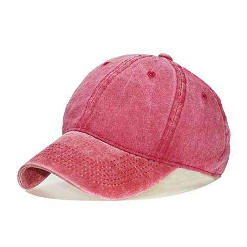 (DSFEWRD Washed Cotton Adjustable Solid 12 Color Baseball Cap Unisex Couple Cap Leisure Dad Hat Cap 05 Adjustable)