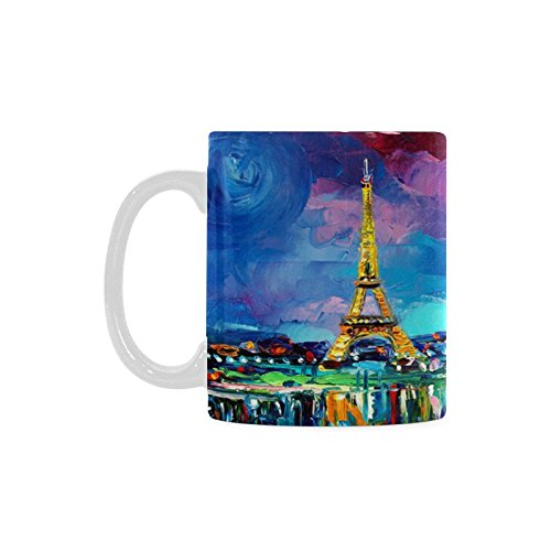 De Paris Mugs - Eiffel Tower Paris France White Ceramic Coffee Mugs Cup - 11oz sizes