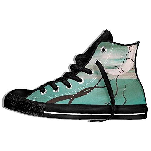 Classic High Top Sneakers Canvas Zapatos Antideslizante Art Moon Casual Walking Para Hombres Mujeres Negro