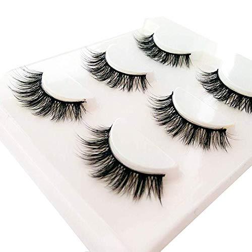 3D False Eyelashes Extensions 3Pairs Natural Long Lashes With Volume for Women's Make Up Handmade Soft Fake Eyelash