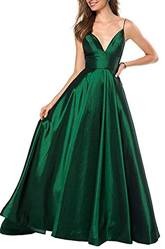 (RrBoy Women's Spaghetti Strap V Neck Prom Dresses Long 2019 A-line Satin Formal Evening Ball Gowns with Pockets Green)