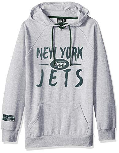 Icer Brands NFL New York Jets Women's Fleece Hoodie Pullover Sweatshirt Tie Neck, X-Large, Gray