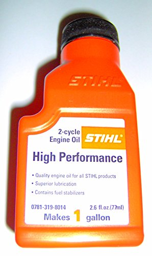 - Stihl High Performance 2 cycle Engine Oil 2.6 ounce bottle MAKE 1 GALLON 0781-319-8014 (1 bottle)