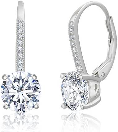 SPECIAL OFFER Round Cubic Zirconia Drop Leverback Earring