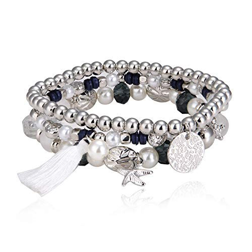 MALDON Casual Pearl Bead Bracelets Set,Crystal Multilayer Strand Bracelet with Tassel for Large Women,Girl,Wife (7.5)