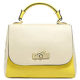 Dilaks 26446 Satchel Bag for Women - Synthetic, Yellow