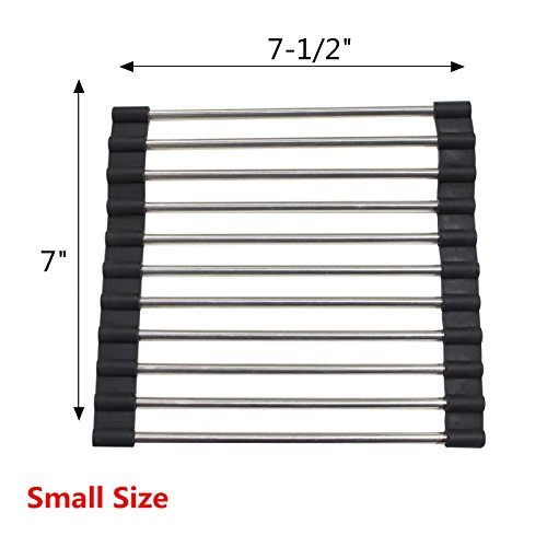 Black Silicone Multi-purpose Roll-up Dish Drying Rack Over t