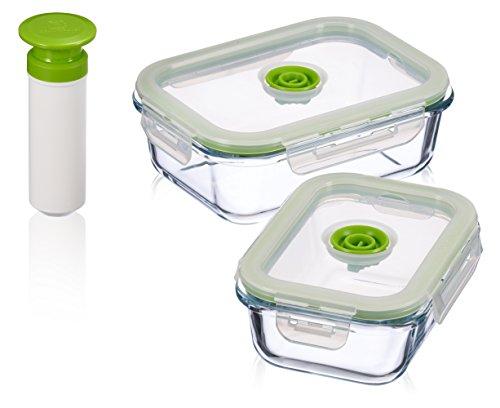 5 pc Glass Vacuum Seal Food Storage Container Set | Hand Held Vacuum Food System | Deep Freezer Food Storage Sealer | Quick Seal Marinator | Rectangular | Large | (Vacuum Food Marinator)