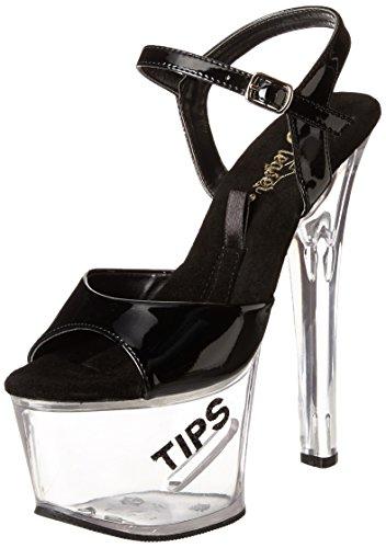 Pleaser Women's Tipjar-5/B/BG Platform Sandal Black Patent/Clear isVy3