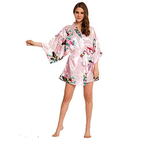 I Frogee Women's Peacock Kimono Robe SR-13 Short (Medium, Pink)