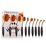 Makeup Brushes Set 10pcs Professional Oval Toothbrush Foundation Contour Powder Blush Concealer Eyeliner