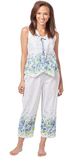 La Cera Sleeveless Cotton Capri Pajamas in Meadow Mist (Medium (10-12), White/Blue Green Floral)