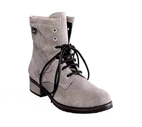 Quui  Kaplan,  Damen Combat Boots Grau