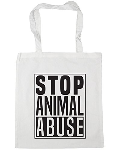 Beach Gym 42cm Tote 10 White x38cm Bag Stop Abuse litres Shopping HippoWarehouse Animal nqY8FtX