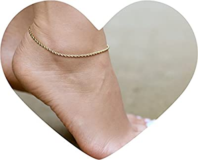 """Lifetime Jewelry Anklets for Women Men and Teen Girls [ 2mm Rope Chain ] Real 24K Gold Plated Ankle Bracelet for Beach, Party or Wedding - Cute Durable Anklet - Yellow Gold 9"""" 10"""" and 11"""" Plus Size"""