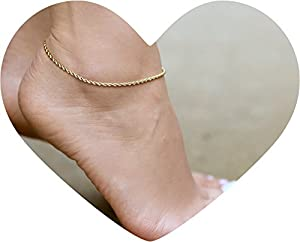 Lifetime Jewelry Anklets for Women Men and Teen Girls - 24K Gold Plated 2mm Rope Chain - Ankle Bracelet to Wear at Beach or Party - Cute Surfer Anklet - 9 10 and 11 inches (10)