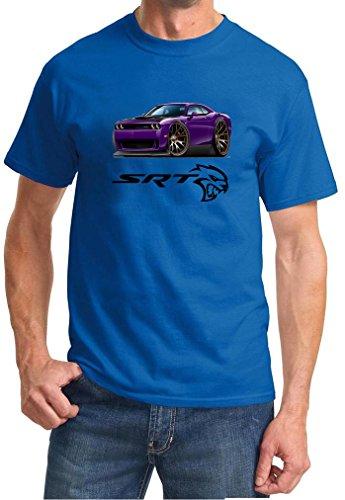 Dodge Challenger SRT Hellcat Purple Muscle Car-toon Tshirt large royal