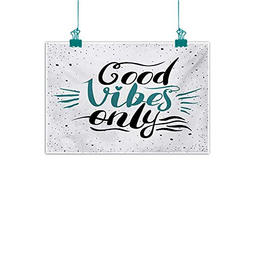 - Simulation Oil Painting Good Vibes Stylized Hand Letters Calligraphy Dots Wavy Lines and Little Heart Modern Decorative Painted Sofa Background Wall W47 xL31 Teal Black Beige