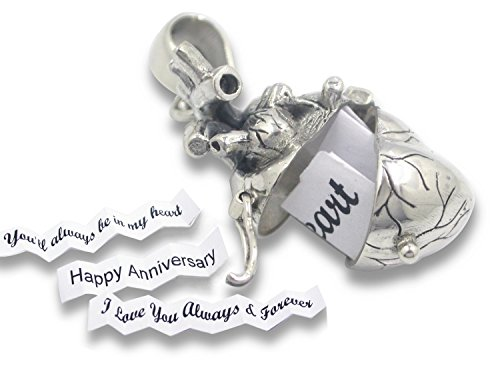 Anatomical Heart Necklace Solid Sterling Silver 3d Antique Finish Message Note Holder or Pill Box Pendant Locket Opens (Heart with 20'' Sterling Silver Rope Chain) by CoolRings (Image #1)