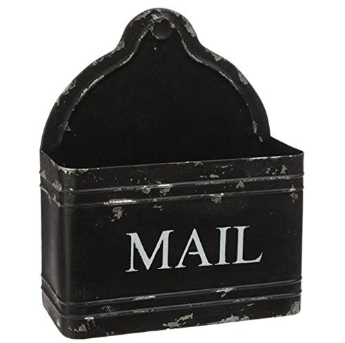 Rustic Black Iron Metal Indoor Greeting Card Holder Mail Box, 10 X 12 Inch, Distressed Style