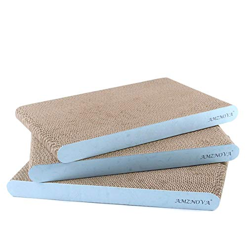 AMZNOVA Cat Scratcher Cardboard Scratching Pads Scratch Lounge Sofa Bed, Wide, Baby Blue, 3 Pack