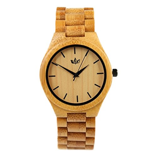 Woody Watch Natural Bamboo Wood Wristwatch with Bracelet and Japanese Quartz Movement