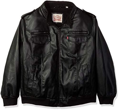 Levi's Men's Tall Faux Leather Sherpa Lined Aviator Bomber Jacket, Black 2X ()