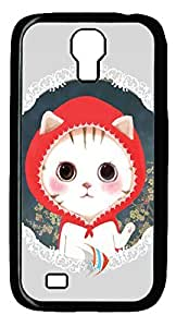 Galaxy S4 Case, Unique Design PC Hard Black Cat With Redhat Case Cover for Samsung Galaxy S4