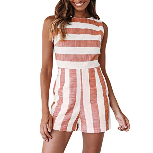 XLnuln Women Fashion Classic Dresses Boho Stripe O-Neck Casual Sleeveless Short Jumpsuit Sleeve Loose T-Shirt Dress Red -