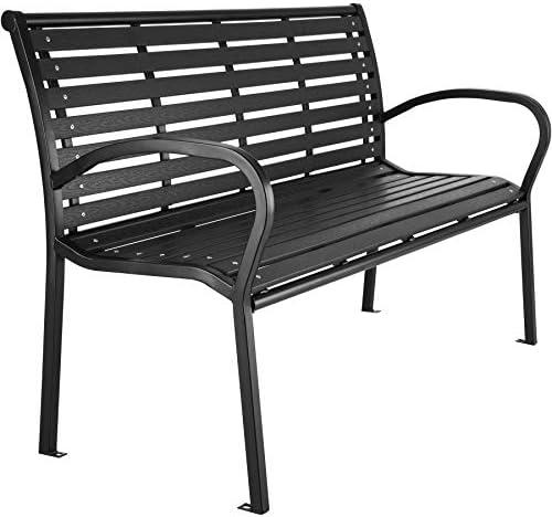 TecTake 403213 Premium Gartenbank, 3-Sitzer, Hips Sitzbank, widerstandsfähig, bis 250 kg belastbar, 126 x 62 x 81,5 cm, schwarz