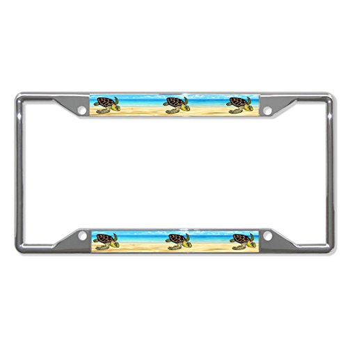 SEA Turtles Animal Metal License Plate Frame Tag Holder Four Holes Perfect for Men Women Car garadge Decor (Sea Animal License Plate Frame)