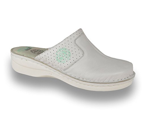 Descuento amplia gama de El precio más bajo Leon 360 Zapatos Cómodos Zapatos De Cuero De Las Mujeres Mule Zuecos Blancos Envío gratuito 2018 Barato en línea Barato Venta Nicekicks NxNIO9sug