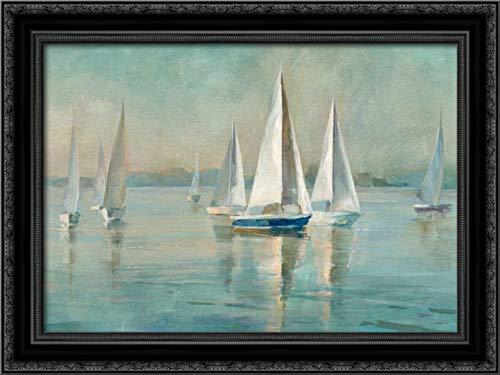 Sailboats at Sunrise 24x17 Black Ornate Wood Framed Canvas Art by NAI, Danhui