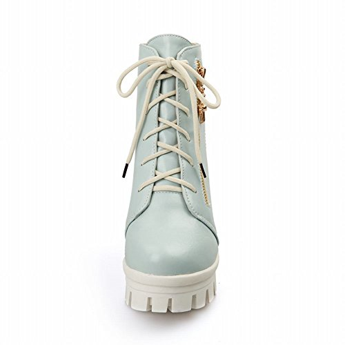 Carolbar Womens Sweet Fashion Elegance Cross Rits Decoraties Cute Platform High Chunky Heel Martin Boots Blauw