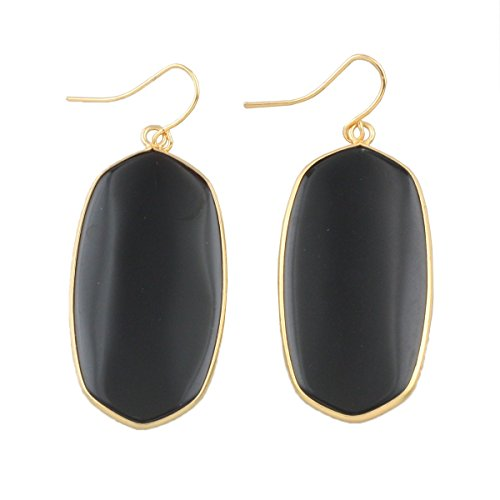 rockcloud Black Agate Stone Dangle Hook Earrings Oval Gold Plated