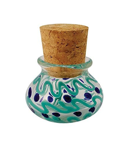 JCS Industries Multicolored Glass Jar w/Squiggles & Dots - Includes Cork - 2.5