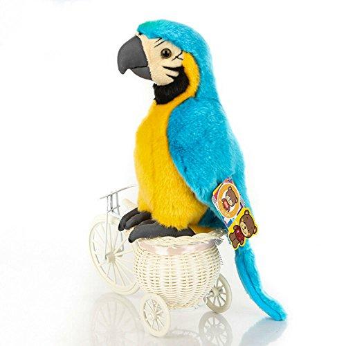 10-Inch Simulation Macaw Plush Animal Toy Parrot Plush Stuffed Toys (Blue)