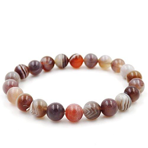 Malahill Precious gemstone Healing Balance Stretch Bracelets, 100% natural AAA grade (Botswana agate - Agate Natural 100%