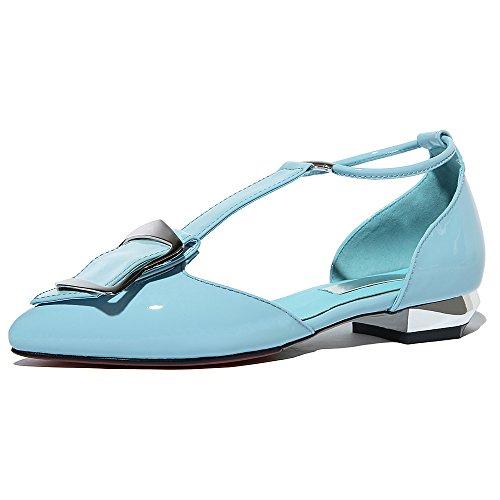 Negen Zeven Lakleer Dames Puntige Teen Dorsay Elegante Handgemaakte T-riem Platte Schoenen Blauw
